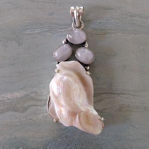 Jewelry - Sale! Biwa pearl moonstone stamped pendant